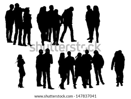 Vector drawing crowds people on street. Property release is attached to the file - stock vector