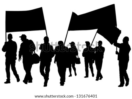 Vector drawing crowds with banners and flags - stock vector