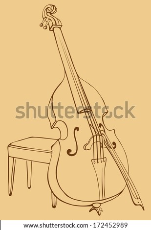Vector drawing Double Bass with a bow, simply supported on a stool for a musician - stock vector