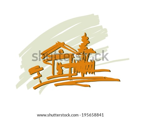 Vector drawing eco-lodge in the village - stock vector