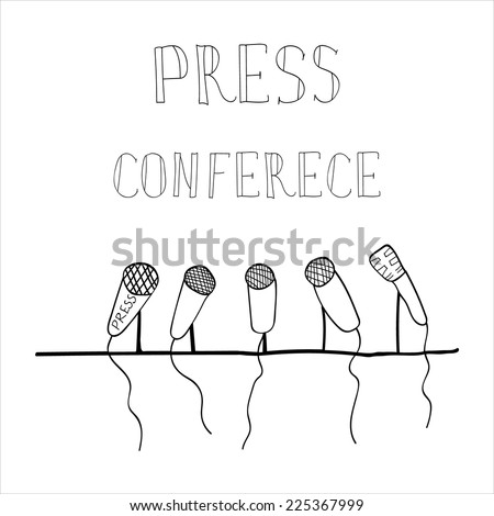 vector drawing emblem press conference, a number of microphones, press - stock vector
