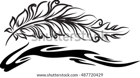 vector drawing feather sign