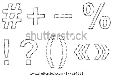 Vector drawing font isolated on white background. Uppercase and lowercase letters of the Latin alphabet with ink double loop - stock vector