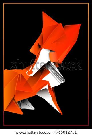 Vector Drawing Fox Origami 1 Stock Vector 765012751 Shutterstock