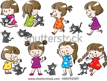 vector drawing girl with cat set