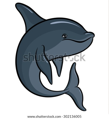 Vector drawing - hand drawing colorful dolphin  - stock vector