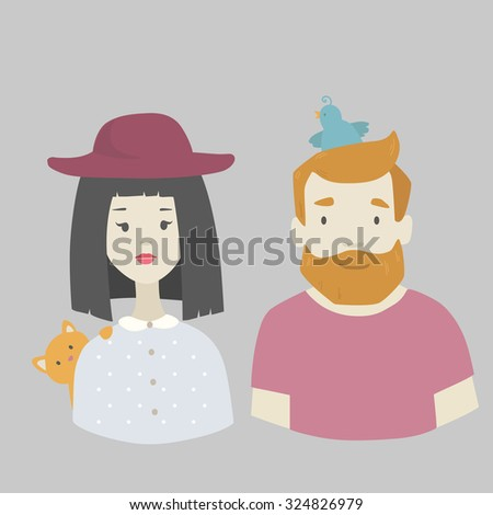 Vector drawing hipster man with bird and woman in hat with red cat in cartoon modern flat design  - stock vector