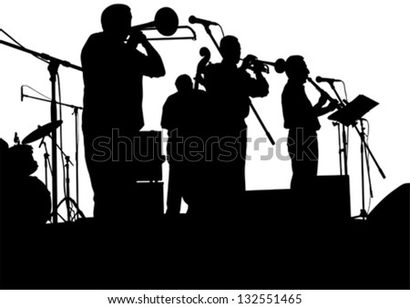 Vector drawing jazz musicians on the stage - stock vector