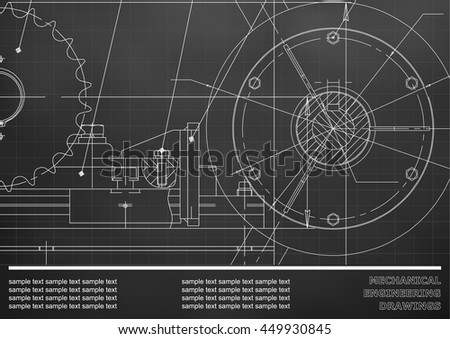 Vector drawing. Mechanical drawings on a black background. Engineering illustration. Corporate Identity. Grid