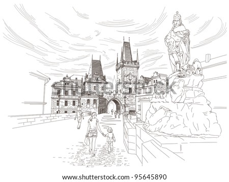 vector drawing of a bridge tower at the end of the charles bridge prague