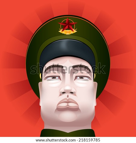 Vector Drawing of a communist soldier/Communist soldier/ Communist soldier chinese, easy to edit layers, meshes and gradients used - stock vector