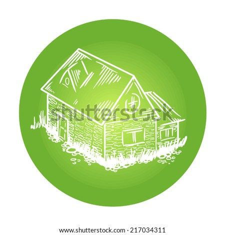Vector drawing of a cottage house