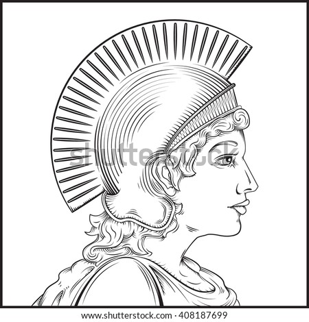 Vector drawing of a Greek Warrior woman / Easy to edit groups and layers easy to colorize background objects.  - stock vector