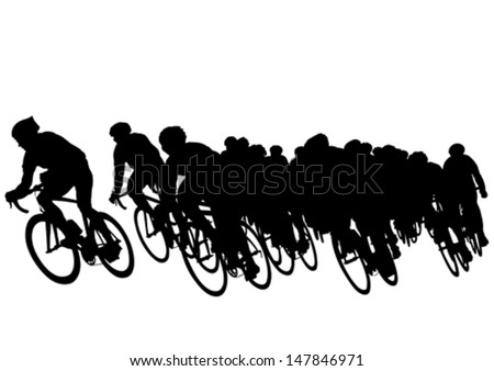 Vector drawing of a group of cyclists in competition. Property release is attached to the file - stock vector