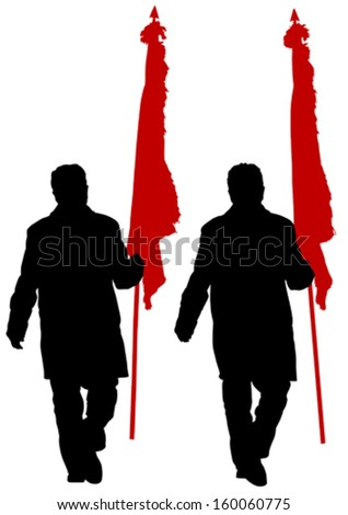 Vector drawing of a group of people with flags - stock vector