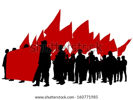 Vector drawing of a group of people with flags.  - stock vector
