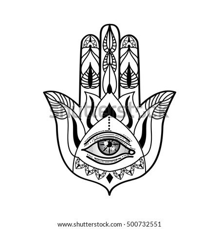 Vector Drawing Hamsa Hand All Seeing Stock Vector 500732551