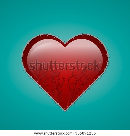 Vector drawing of a heart shape with the barbed wire. EPS 10 - stock vector