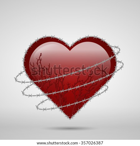 Vector Drawing Heart Shape Barbed Wire Stock Vector 357026387 ...