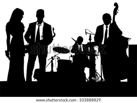 Vector drawing of a jazz band on stage - stock vector