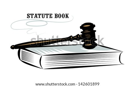 Vector drawing of a judicial gavel and book of laws. - stock vector