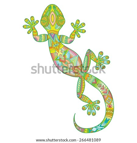 Vector drawing of a lizard gecko with ethnic patterns - image lizard as a tattoo. - stock vector
