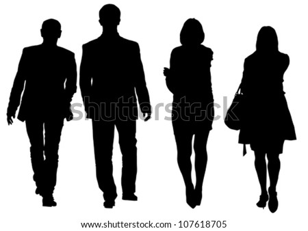 Vector drawing of a man and a woman walking - stock vector