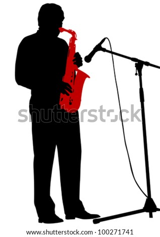 Vector drawing of a man with saxophone on stage - stock vector