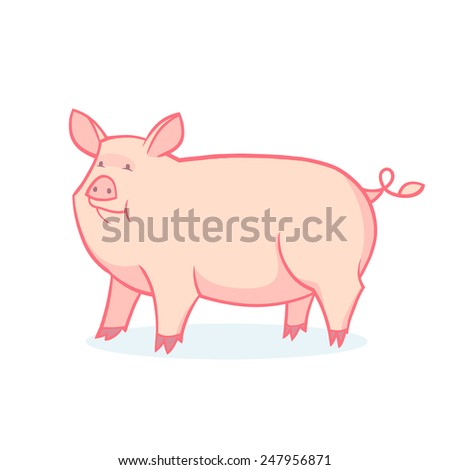 Vector drawing of a pig