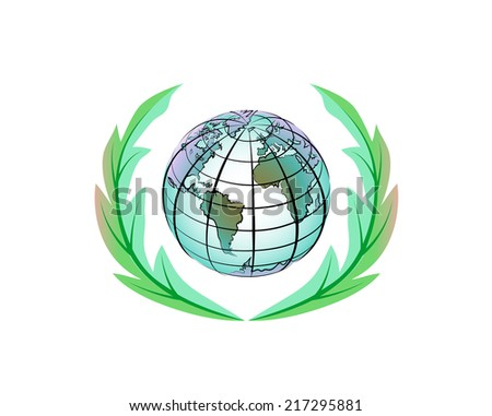 Vector drawing of a planet Earth and green wreath. - stock vector