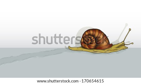Vector drawing of a Snail leaving a trail/Snail Trail/ Easy to edit layers and groups, meshes and gradients used black and white outline file looks amazing. Easy to isolate snail and use. - stock vector