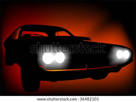 Vector drawing of a sports car at night. Discounted lamps