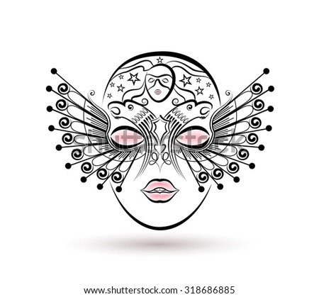 Vector drawing of a venetian mask carnival on the white background. - stock vector