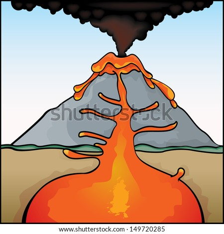 Volcano diagram stock images royalty free images vectors vector drawing of a volcano eruptingvolcano easy to edit vector file of a ccuart Images