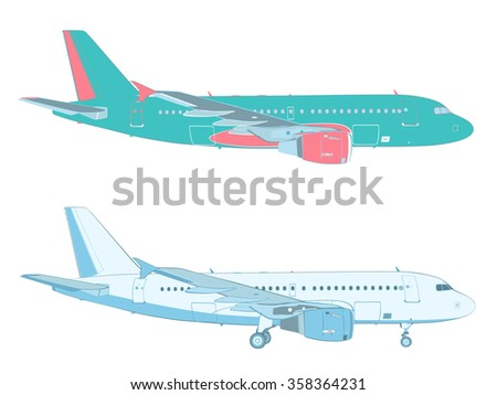 vector drawing of an airliner on white background with and without the landing gear (profile - side  view)