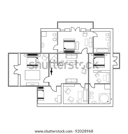 vector drawing of building with furniture - stock vector