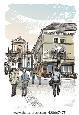 Vector drawing of central street of old european town. Gate of Dawn, Vilnius, Lithuania