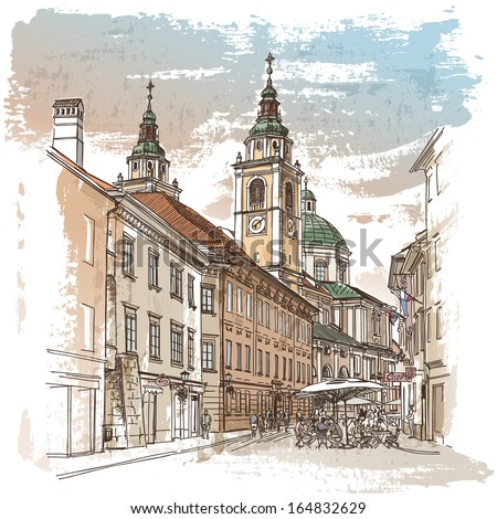 Vector drawing of central street of old european town, Ljubljana - stock vector