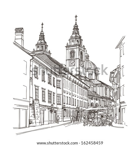 Vector drawing of central street of old European town, Ljubljana, Slovenia - stock vector