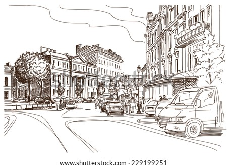 Vector Drawing Of Central Street Old European Town Vilnius Lithuania