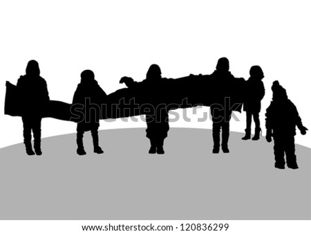 Vector drawing of children with a banner in his hands
