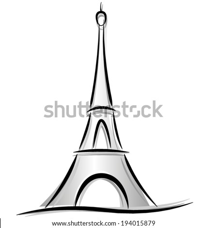 Vector drawing of eiffel tower on white background - stock vector