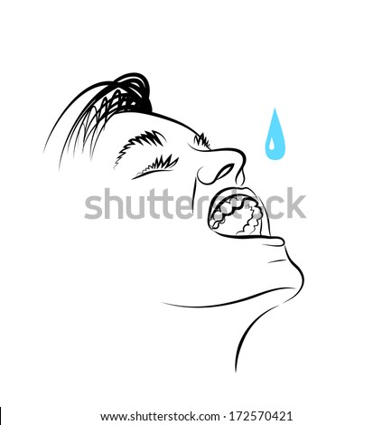 Vector drawing of face of the young man. - stock vector