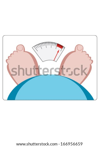 Vector drawing of feet and stomach on weighing scales - stock vector