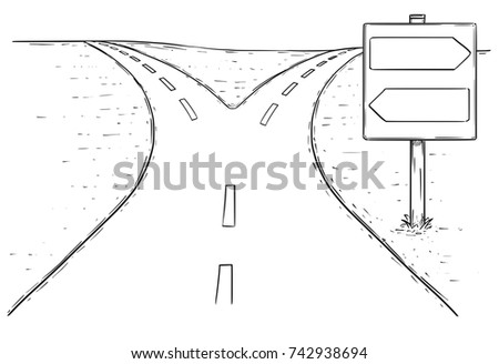 Vector Drawing Fork Road Empty Blank Stock Vector (2018) 742938694 ...