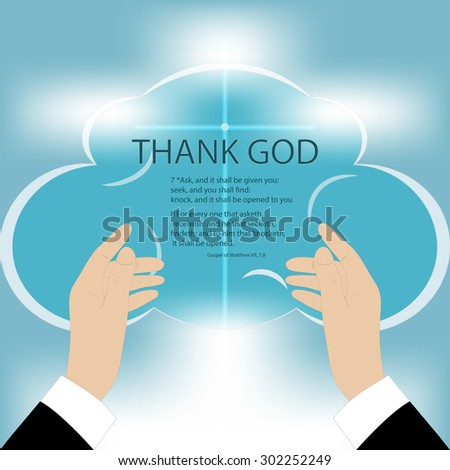 Vector drawing of hands rising to God, on a blue background mesh, text - Thank God - stock vector