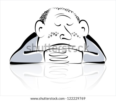 Vector drawing of man which sleeps.
