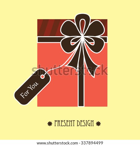 Vector drawing of present with ribbon, bow and label for you (pink and brown)