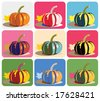 Vector drawing of pumpkin with nine pop-art color/background combinations. - stock photo