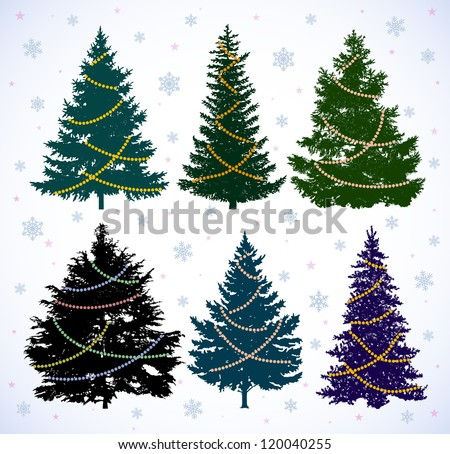 Vector drawing of six color silhouettes spruces against the background of snowflakes. - stock vector
